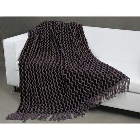 Chic Home Vivien Two Tone Chenille Finished Acrylic Throw Blanket New Purple Chenille Throw Blanket