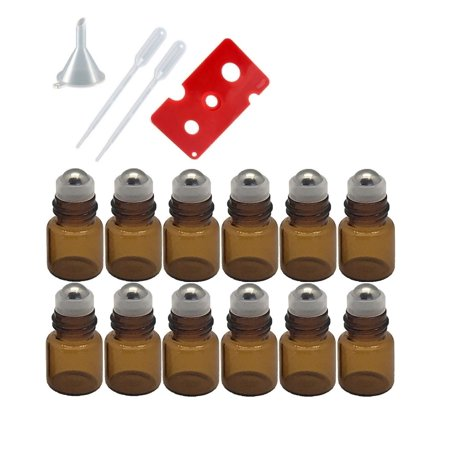 1ml Amber Glass Roller Bottles with Stainless Steel Balls (Pack of 12), Funnel, Pipettes, and Essential Oil Bottle (Amber Bell)