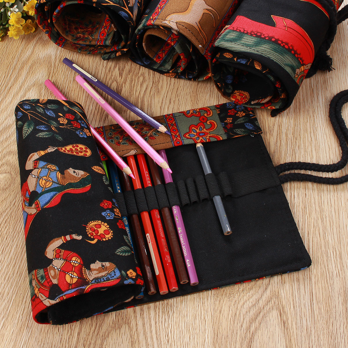 36/48/60/72 Canvas Drawing Brush Bag Pencil Pen Roll Wrap Holder Colored Case, 36Holes color