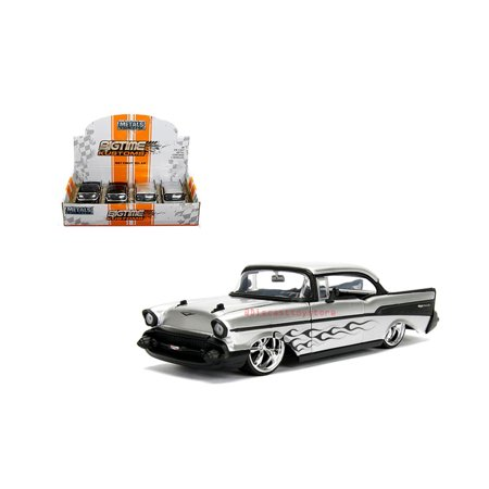 JADA 1:24 DISPLAY - METALS - BIGTIME KUSTOMS - 1957 CHEVROLET BEL AIR WITH FLAME DESIGN 1 ITEM RANDOM COLOR 99975-DP1 WITHOUT RETAIL BOX