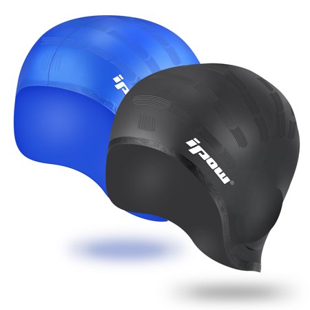 Swimming Cap Hat, IPOW Silicone Swim Caps Waterproof with Ear Pocket for long hair Adults Men Women Kids Girls Boys Child Youth, 2 Pack, Black + Blue