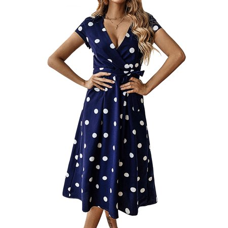 UKAP Womens Summer V Neck Bandage Tunic Polka Dot Flowy Wrap Casual Dress](Casual Flowy Dresses)