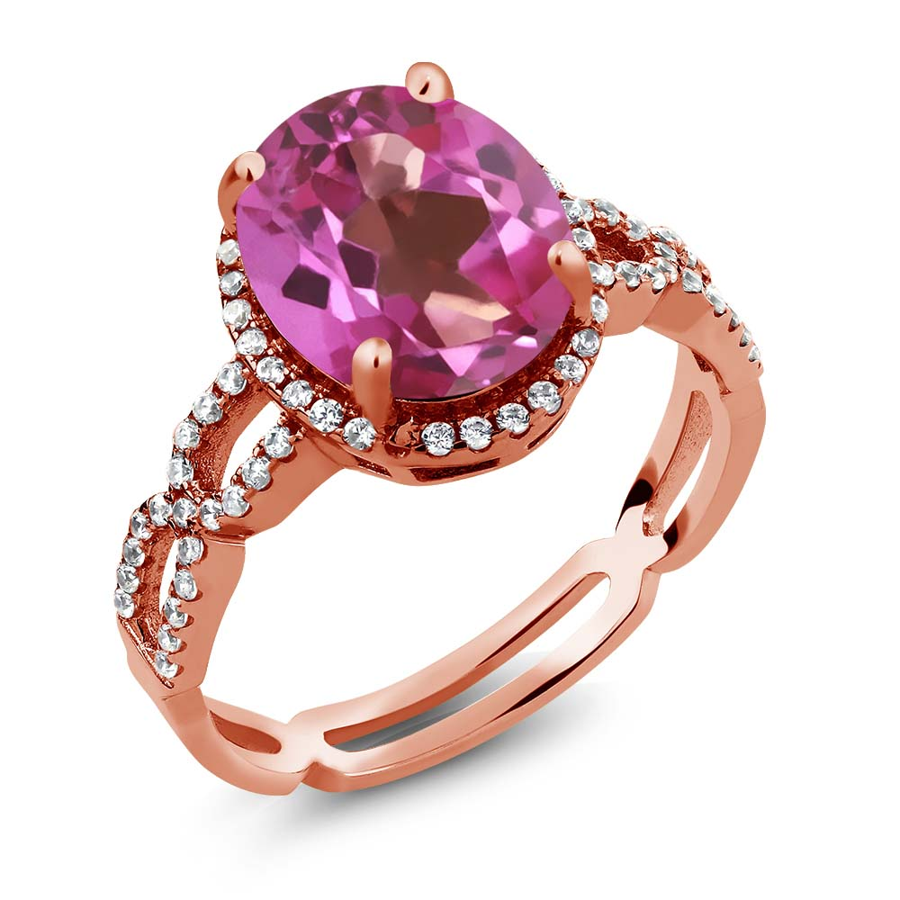 3.85 Ct Pink Mystic Topaz White Created Sapphire 925 Rose Gold Plated Silver Ring by