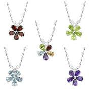 MaxMark Inc Sterling Silver Amethyst, Blue Topaz, Garnet, Peridot or Multi-gemstone Flower Pendant Necklace