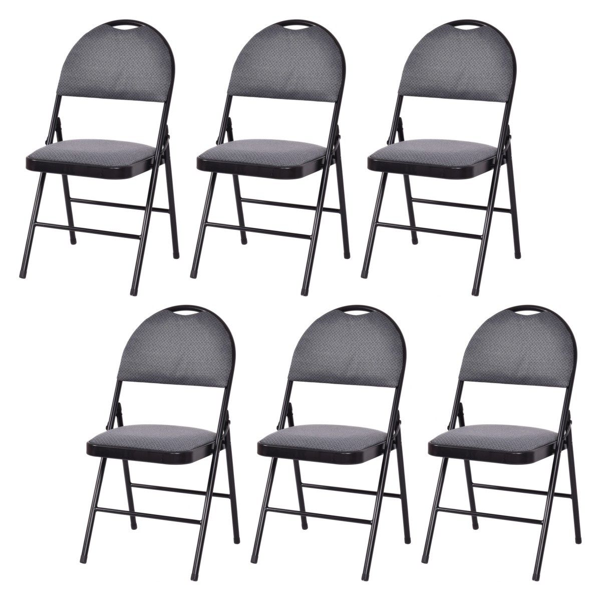 Costway Set of 6 Folding Chairs Fabric Upholstered Padded Seat Metal Frame Home Office by Costway
