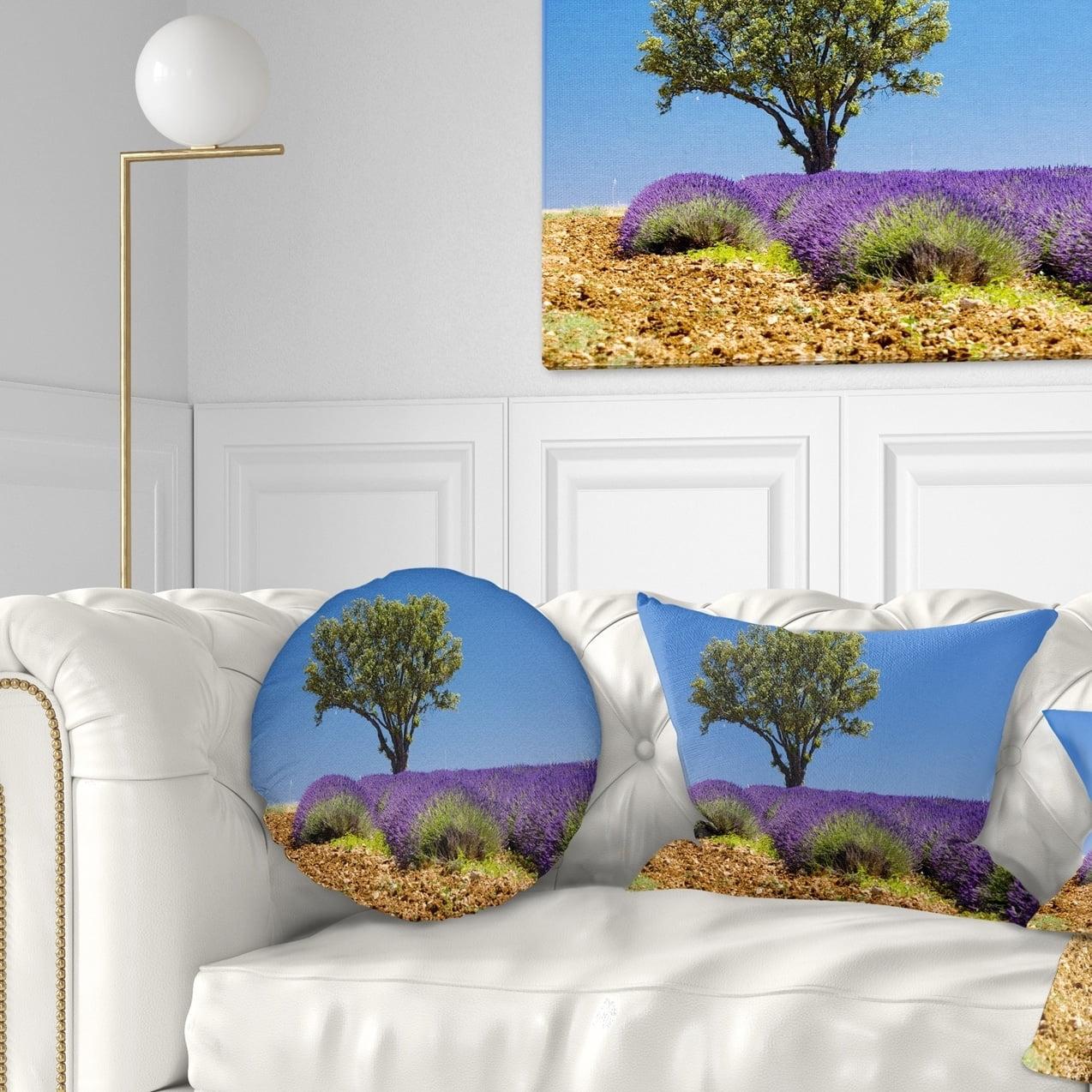 Design Art Designart Lone Green Tree In Lavender Field Landscape Printed Throw Pillow Walmart Com Walmart Com