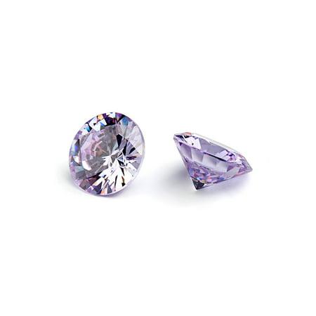 Round Cabochon Lavender - 4mm Flawless Lavender Cubic Zirconia Stones Round Brilliant-Cut Cz Stone Settings