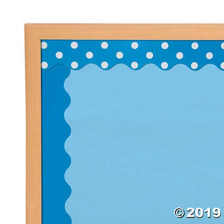 Double-Sided Solid & Polka Dot Bulletin Board Borders - Blue - Borders For Bulletin Boards