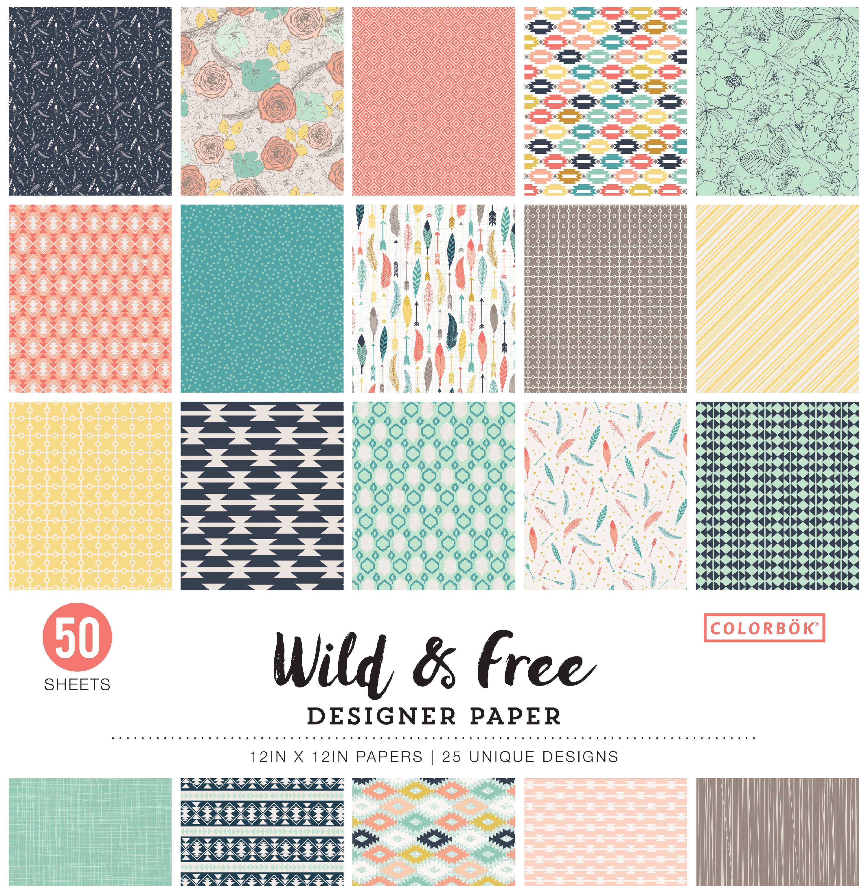 Colorbök® Wild & Free Designer Paper 50 sheet Pack