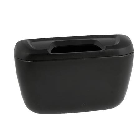 unique bargains car interior black plastic trash bin garbage box container w hook. Black Bedroom Furniture Sets. Home Design Ideas