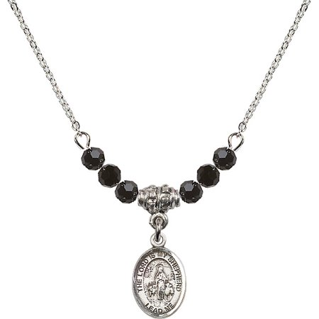 Jet Beaded Necklaces Pendants (18-Inch Rhodium Plated Necklace with 4mm Jet Birth Month Stone Beads and Lord Is My Shepherd Charm)