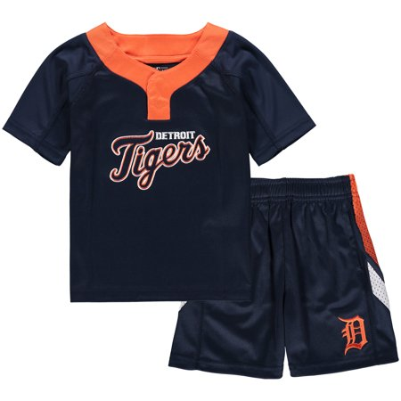 Detroit Tigers Toddler Ground Rules T-Shirt & Shorts Set - Navy/Orange (Tiger Outfits)