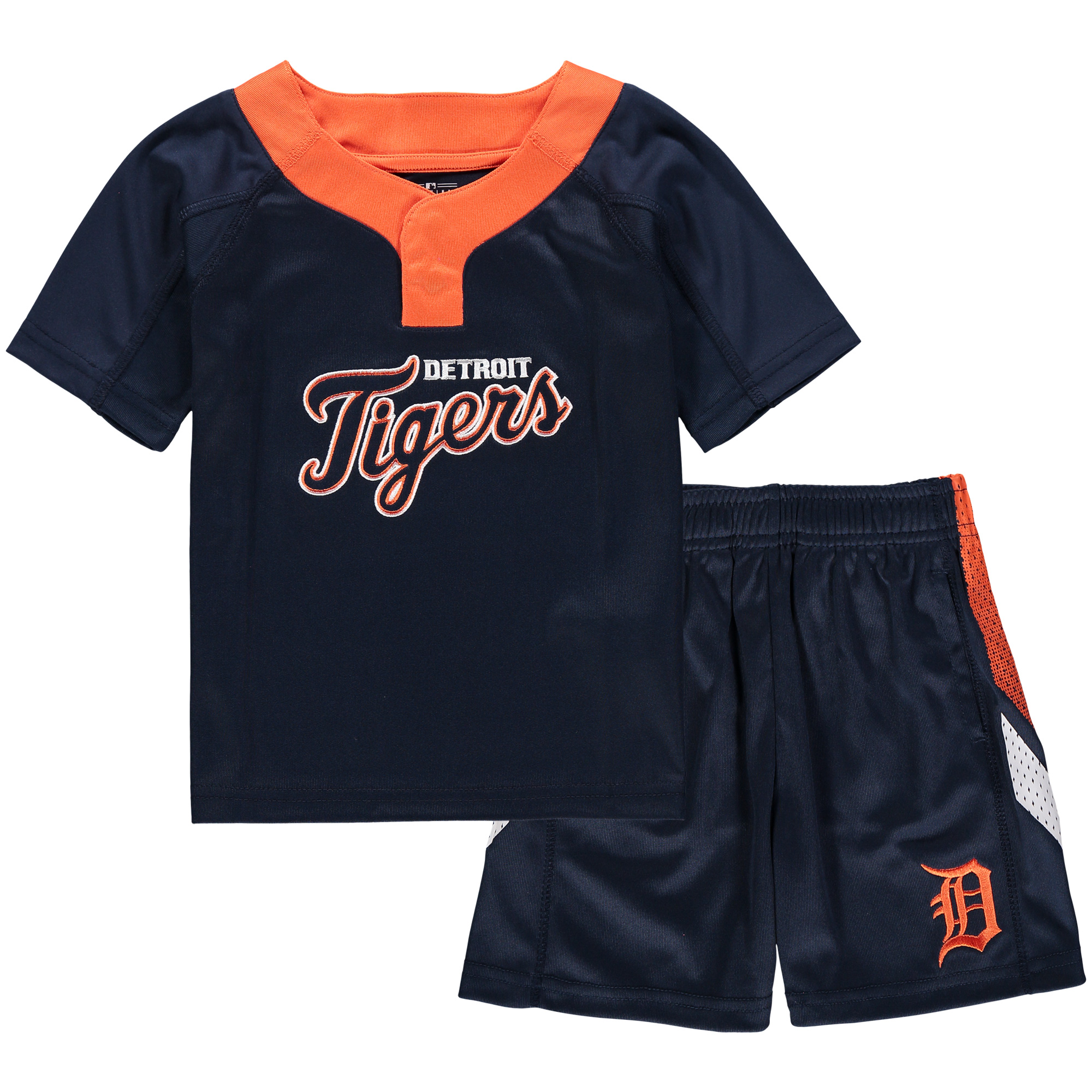 Detroit Tigers Toddler Ground Rules T-Shirt & Shorts Set - Navy/Orange