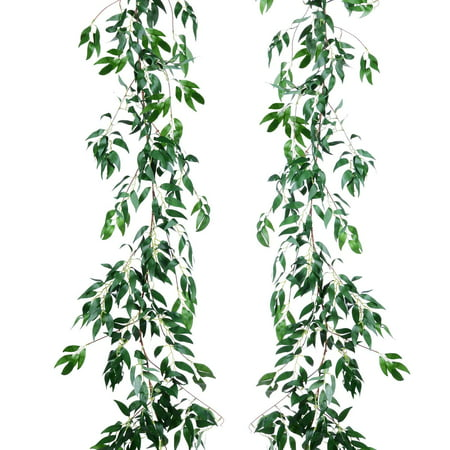 2 Pack Artificial Hanging Leaves Vines, 5.7 Ft Fake Willow Leaves Twigs Silk Plant Leaves Garland String in Green Indoor/Outdoor Wedding Decor Party Supplies Greenery Crowns Wreath