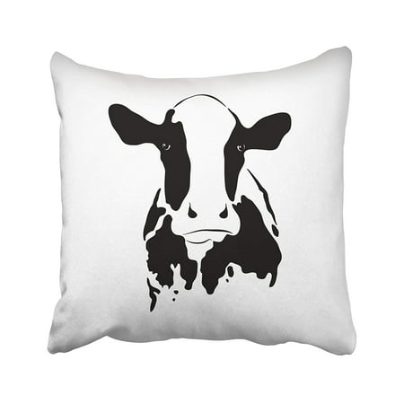 CMFUN Dairy of Cow on White Face Milk Head Abstract Sketch Cartoon Cattle  Pillow Case Pillow Cover 20x20 inch Throw Pillow Covers