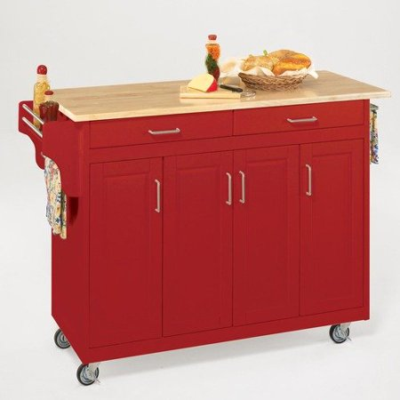 Home Styles Create A Cart Red Kitchen Cart With Natural