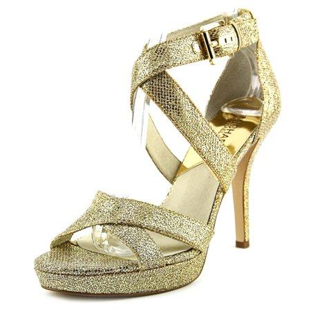 993b89c3177 MICHAEL Michael Kors - Michael Michael Kors Evie Platform Women Open Toe  Canvas Gold Platform Heel - Walmart.com