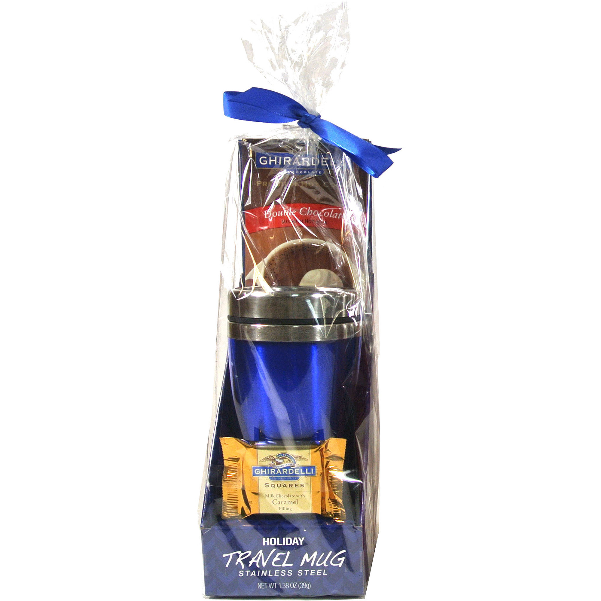 Ghirardelli Holiday Travel Mug Gift Set with hot cocoa and chocolate square ( color will vary)