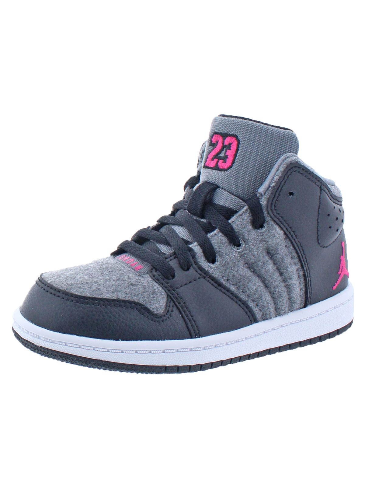 Jordan Girls 1 Flight 4 Premium GP Little Kid Hightop Fashion Sneakers Black
