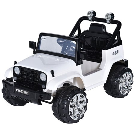 - Costway 12V Kids Ride on Truck Jeep Car RC Remote Control w/ LED Lights Music MP3