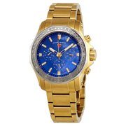 16201Sm-Yg-33-Sb Islander Diamond Multi-Fun Gold-Tone Ss Blue Mop Dial Silver-Tone Bzl Watch