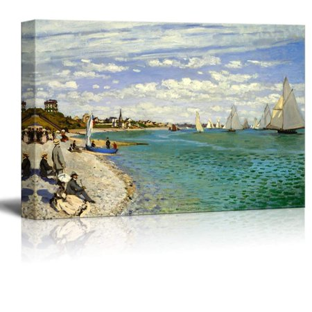 Famous Art Reproductions - wall26 Regatta at Sainte-Adresse by Claude Monet - Canvas Print Wall Art Famous Painting Reproduction - 24