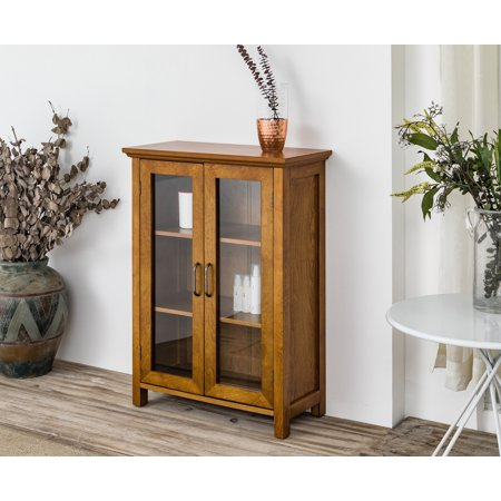 Glass Oak Cabinet (Logan Weathered Oak Floor Cabinet with Two Glass)