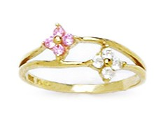 14k Yellow Gold Pink Cubic Zirconia Size 3 Ball Drop Childrens Baby Ring by
