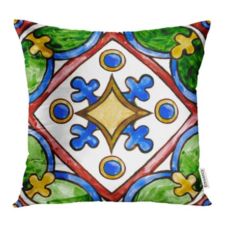 Antique Majolica (YWOTA Abstract Pattern on the Watercolor Majolica Cobalt Green Ocher Antique Ancient Pillow Cases Cushion Cover 18x18)