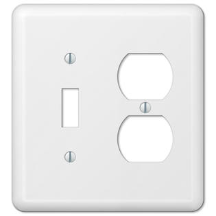 White Metal Toggle Switch Duplex Outlet Wall Plate Cover Combo Enamel Finish