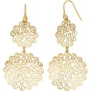 14kt Gold-Plated Sterling Silver Geometric Shape Cut-Out Dangle Earrings
