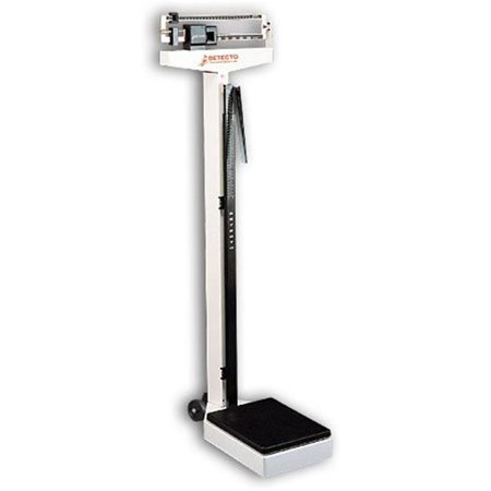 Cardinal Scale-Detecto 338 10.5 in. X 14.5 in. Platform Eye Level Physician Scale 400 Lbs X 4 Oz- 175 Kg X 100 G with Height Rod and Wheels