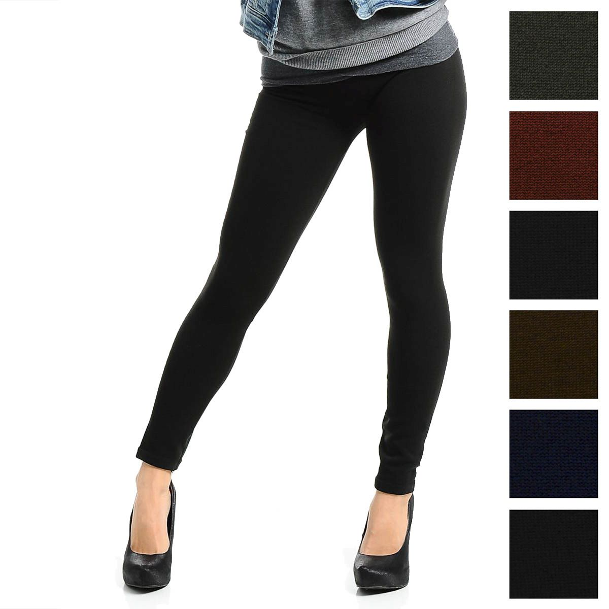 Fleece-Lined Leggings Opaque Footless Winter Warm Adult One Size Stretch
