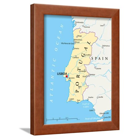 Portugal Political Map Framed Print Wall Art By Peter Hermes Furian