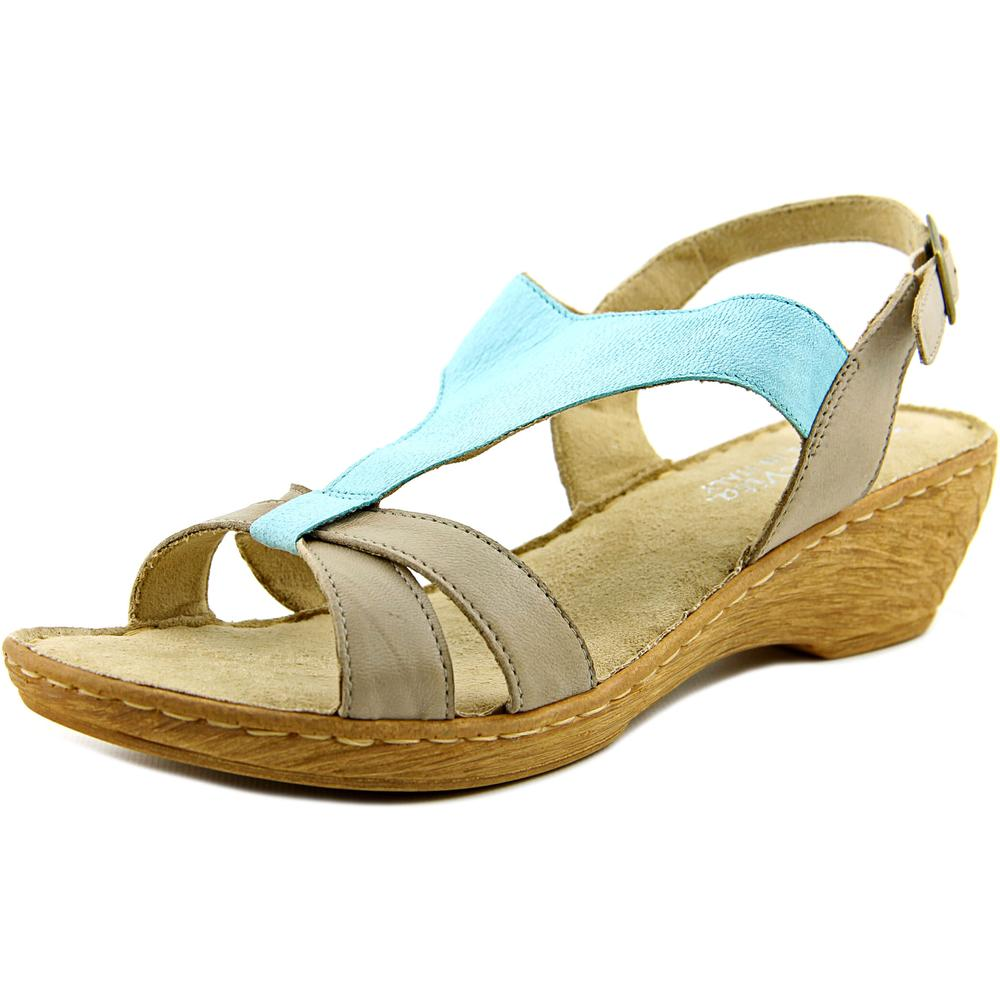 Bella Vita Gubbio Women WW Open Toe Leather Blue Wedge Sandal