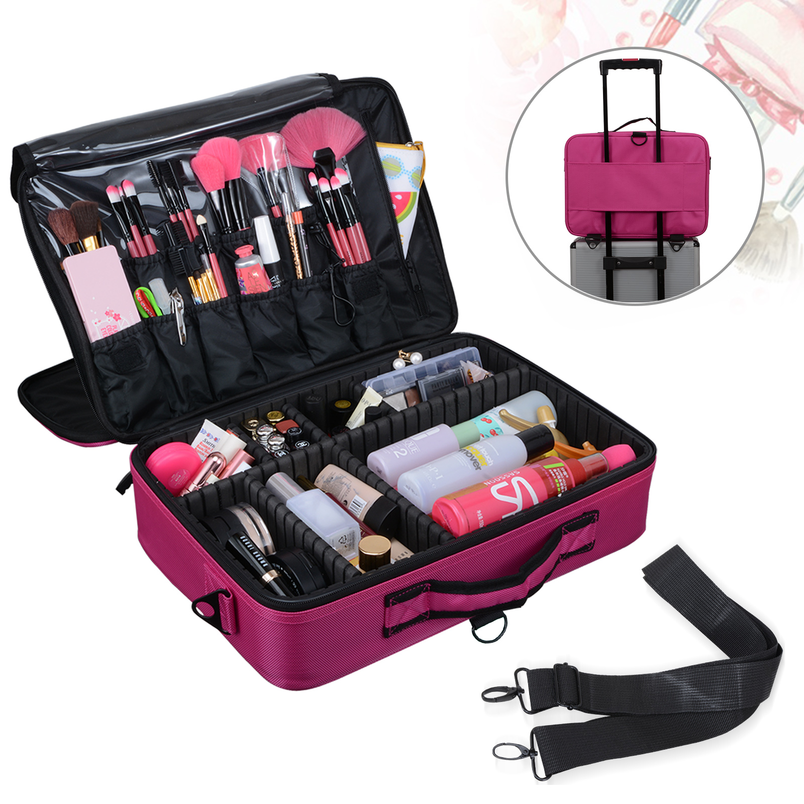 Voilamart Portable Makeup Case 15.7 Inch Large Size W/ Shoulder Strap 3  Layer EVA D.I.Y
