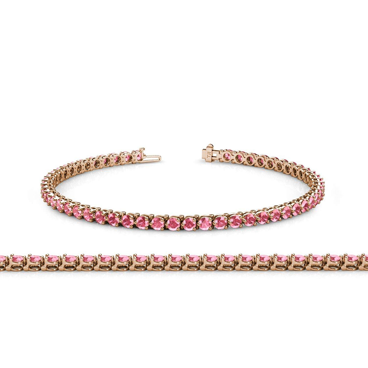 Pink Tourmaline 2.8mm 3-Prong Tennis Bracelet 3.93 ct tw in 14K Rose Gold by TriJewels