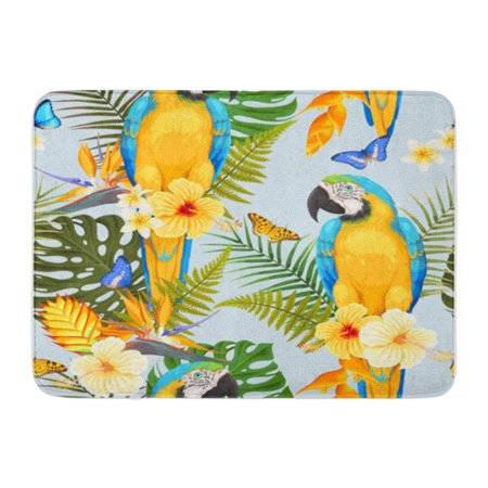 POGLIP Blue Pattern Macaw and Flowers Green Bird Brazil Doormat Floor Rug Bath Mat 30x18 inch - image 1 of 1