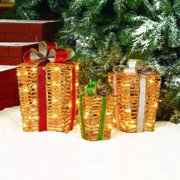 Holiday Time Glittering Gold PVC Grapevine Tappered Gift Box Light Sculpture, 3-Piece Set