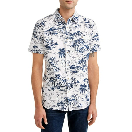 Lee Men's Short Sleeve Button Down Shirt with All-Over Prints, Available up to size (S/s Button Up Shirt)