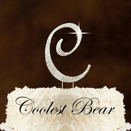 letter c silver coolest bear rhinestone crystal cake topper walmartcom