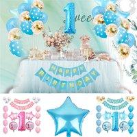 1st Birthday Boy /Girl Decorations Kit , Baby First Birthday Decorations One Year Balloon Party Decor Gift