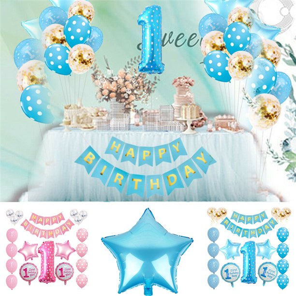 Qifu Children Birthday Balloons Party Baby 1st Birthday Number Foil Balloons Air Boy Girl First Birthday Party Decorations Kids Ballons Accessories Aliexpress
