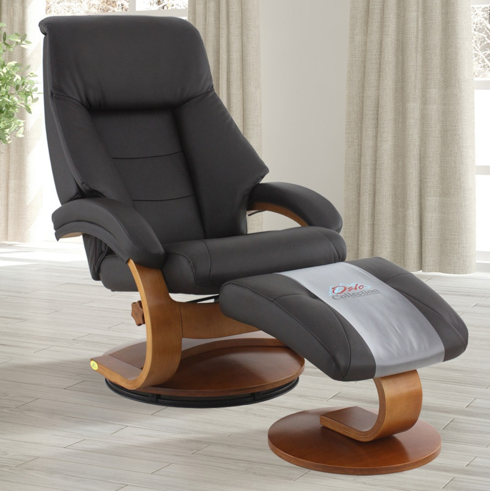 Oslo Collection by Mac Motion Mandal Recliner and Ottoman in Espresso Top Grain Leather