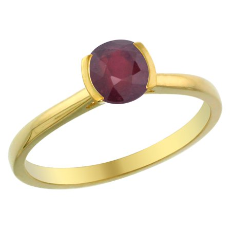 14K Yellow Gold Enhanced Ruby Solitaire Ring Round 5Mm  Sizes 5   10