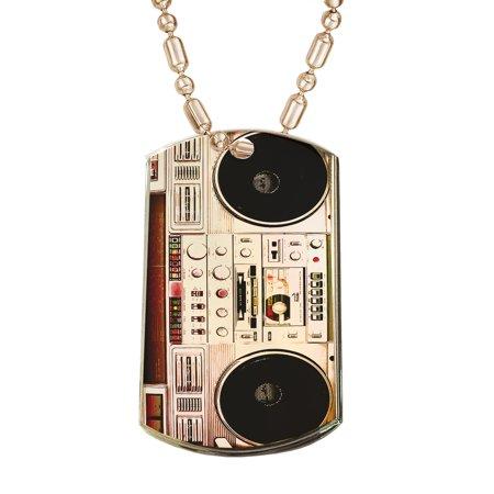 Dog Radio - KuzmarK Gold Pendant Dog Tag Necklace - Boombox Ghettoblaster Radio Gold Dog Tag Necklace