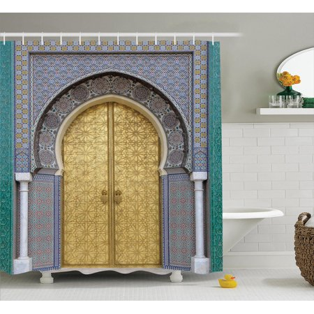 Moroccan Decor Shower Curtain Set, Antique Doors, Morocco Gold Doorknob Ornamental Carved Intricate Artistic, Bathroom Accessories, 69W X 70L Inches, By Ambesonne Turquoise Carving Set