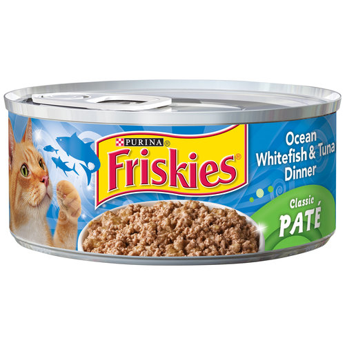Purina Friskies Classic Pate Ocean Whitefish & Tuna Dinner Cat Food 5.5 oz. Can