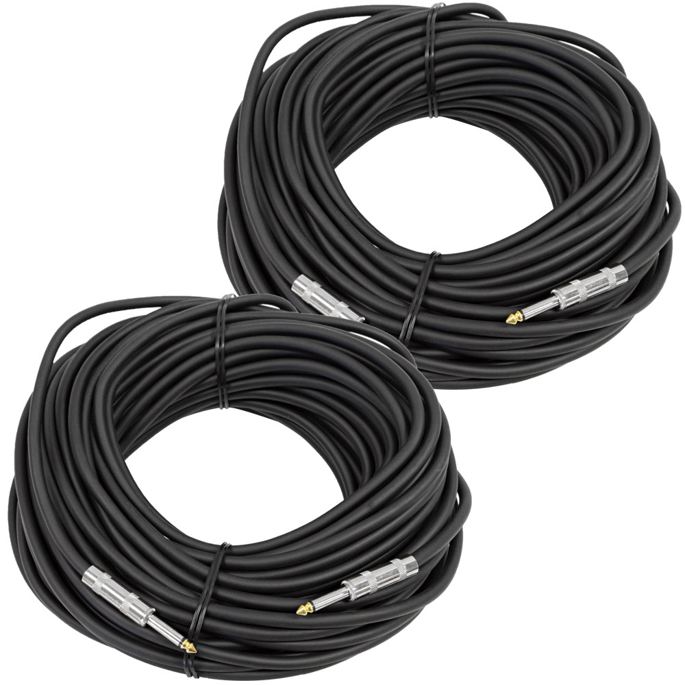 "Seismic Audio Pair 100' 1/4"" to 1/4 Speaker Cables 14 Gauge NEW Black - FS100-2"