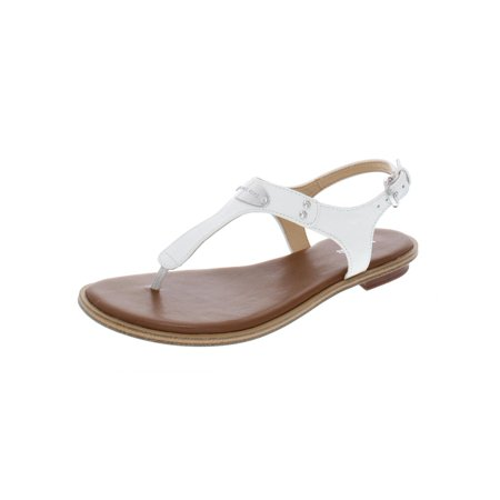 MICHAEL Michael Kors Womens Plate Thong Leather T-Strap Flat